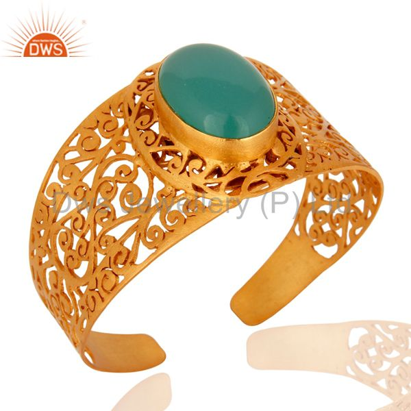 Indian HandmadeDyed Aqua Chalcedony 22K Yellow Gold Plated Filigree Cuff Bangle