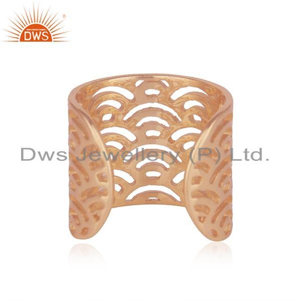 Top Quality Filigree Design Rose Gold Plated 925 Sterling Silver Ring Wholesale