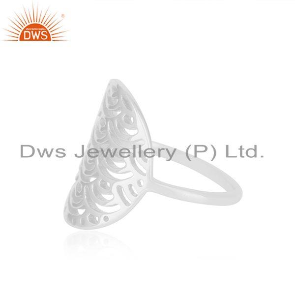 Genuine White Rhodium Plated Sterling Silver Designer Ring For Womens Jewelry