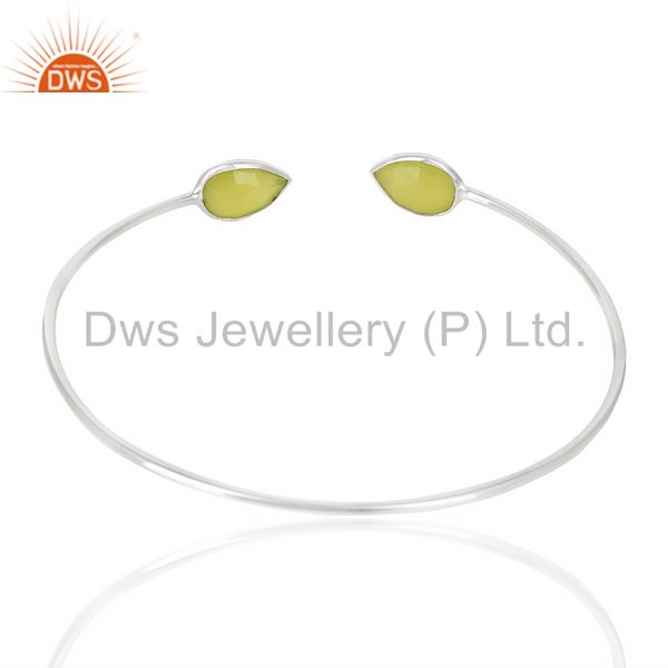 Indian Handmade Prehnite Chlacedony Adjustable Openable White Rhodium 92.5 Sterling SilverBangle