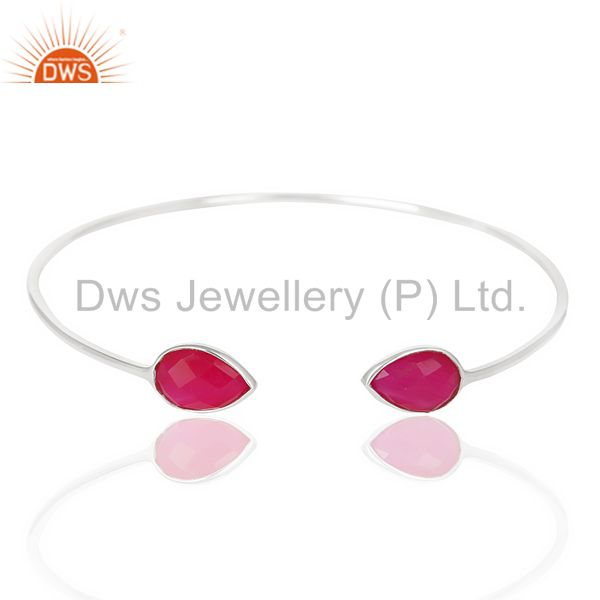 Indian Handmade Pink Chlacedony Adjustable Openable White Rhodium 92.5 Sterling Silver Bangle