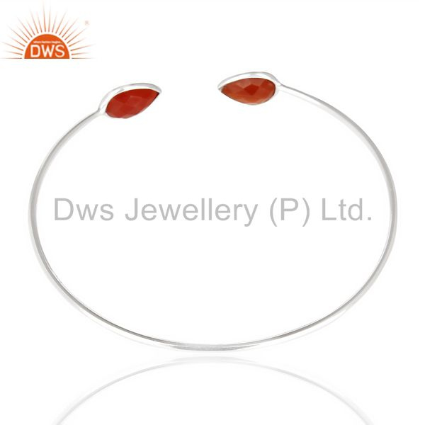 Indian Handmade Red Onyx Adjustable Openable White Rhodium 92.5 Sterling Silver Bangle