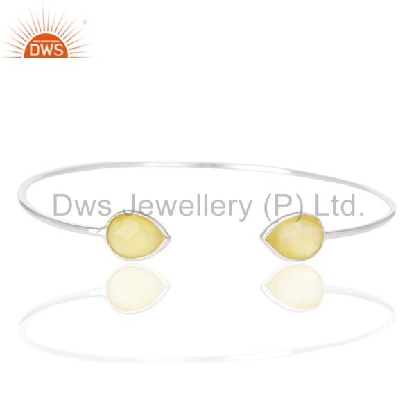 Indian Handmade Yellow Chalcedony Adjustable Openable White Rhodium 92.5 Sterling Silver Bangle