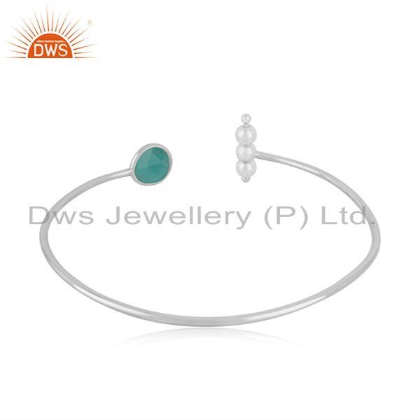 Top Quality Fine Sterling Silver Handmade Green Onyx Gemstone Cuff Bangle Supplier