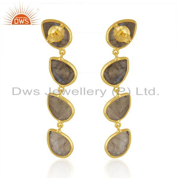 Labradorite Gemstone Designer Gold Plated Silver Dangle Earrings Jewelry Supplier India