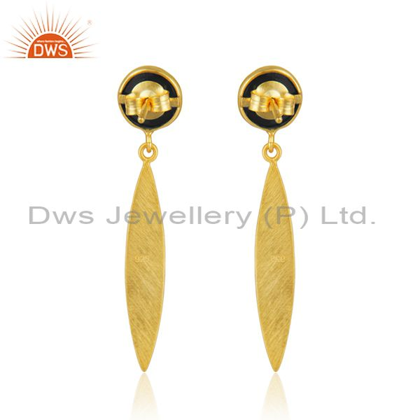 Top Quality Handcrafted Gold Plated Sterling Silver Black Onyx Gemstone Earrings