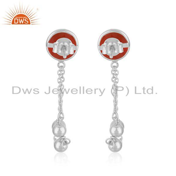 Best Quality Red Onyx Gemstone Designer Fine Sterling Silver Chain Earring Supplier