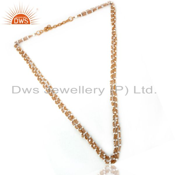 Wholesale 18K Gold Plated Sterling Silver Whitel Pearl Beaded Three Layered Chain Necklace In Jaipur