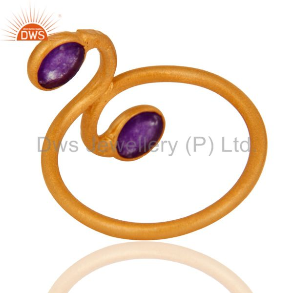 Top Quality 18K Gold Plated 925 Sterling Silver Purple Aventurine Gemstone Handmade Ring