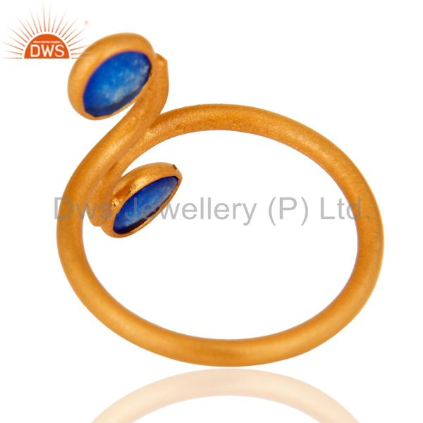 Best Quality 22K Gold Plated 925 Sterling Silver Blue Aventurine Gemstone Ring