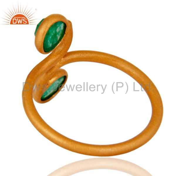 Best Selling 18K Yellow Gold Plated 925 Sterling Silver Green Aventurine Gemstone Ring
