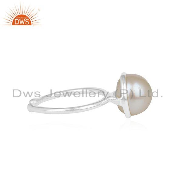 Wholesale Natural Pearl Gemstone Handmade Fine Sterling Silver Ring Suppliers in India