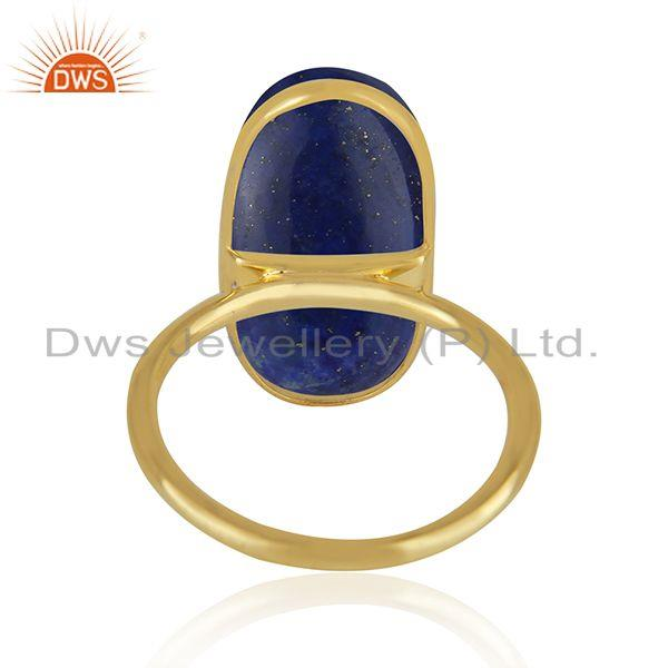 Manufacturer of Lapis Lazuli Gemstone Gold Plated 925 Sterling Silver Ring Wholesaler in Jaipur