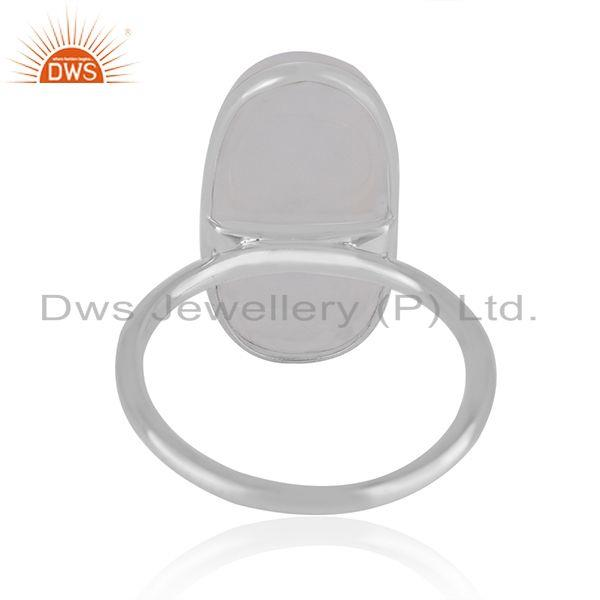 Manufacturer of Natural Rainbow Moonstone Fine Sterling Silver Handmade Ring Supplier in India