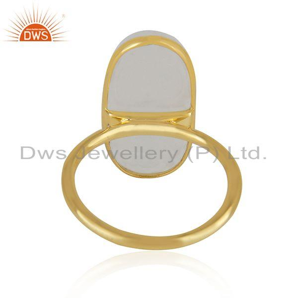 Supplier of Rainbow Moonstone Gold Plated 925 Sterling Silver Handmade Rings in Jaipur