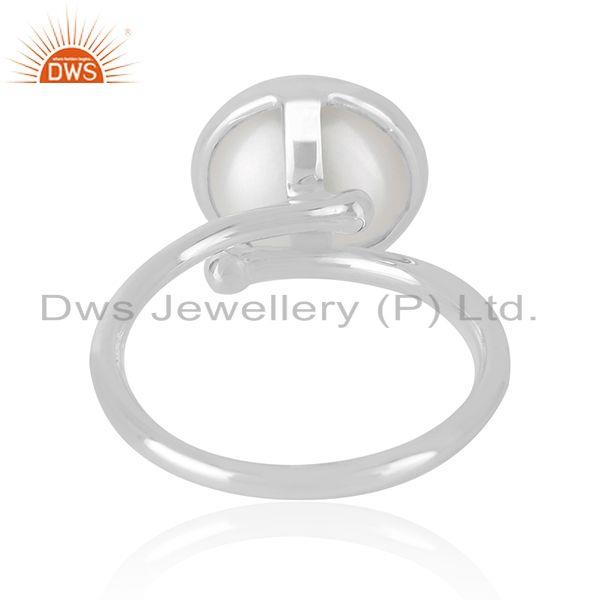 Supplier of Natural Pearl Gemstone Handmade Fine Sterling Silver Ring Supplier in Jaipur