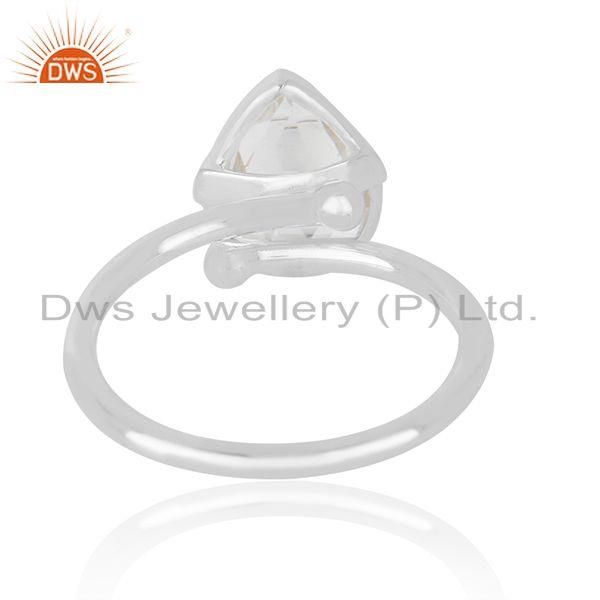 Supplier of Crystal Quartz Gemstone Handmade 925 Sterling Silver Fine Silver Rings in India