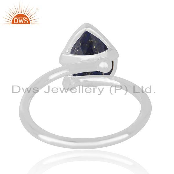 Wholesale Natural Lapis Lazuli Gemstone Handmade Fine Sterling Silver Ring in India