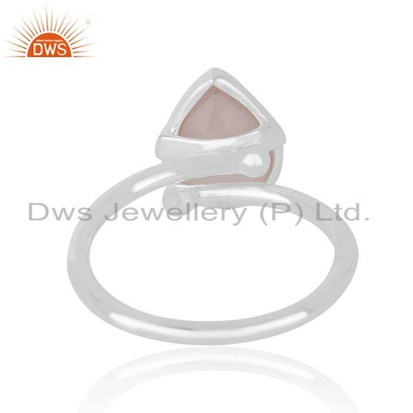 Supplier of Rose Chalcedony Gemstone Fine Sterling Silver Handmade Ring Jewelry in Jaipur