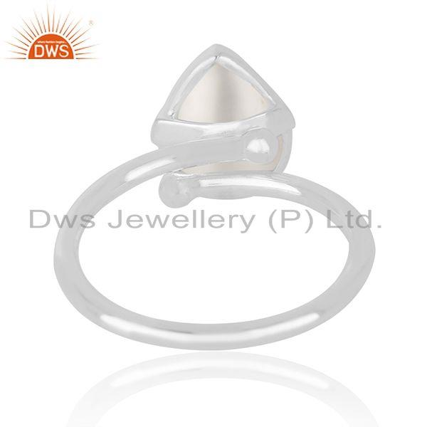 Manufacturer of Natural Pearl Gemstone Fine Sterling Silver Handmade Ring Wholesale in India