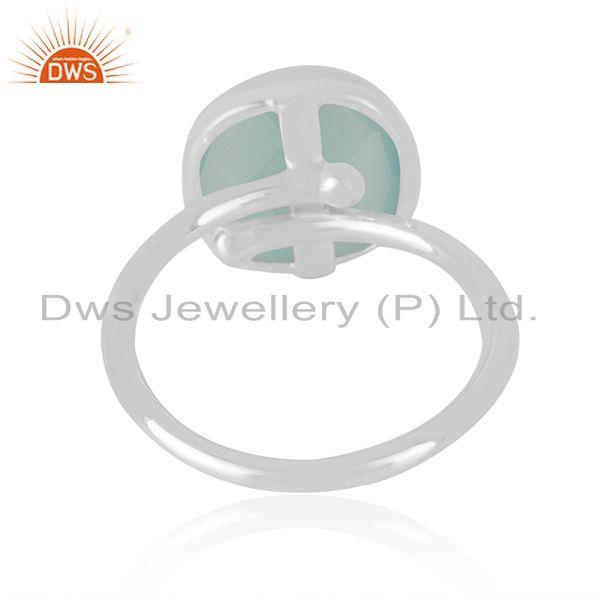Manufacturer of Indian Handmade Fine Sterling Silver Chalcedony Aqua Gemstone Rings in Jaipur