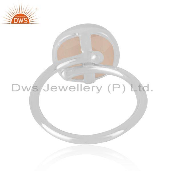 Supplier of Rose Chalcedony Gemstone Handmade 925 Sterling Silver Ring wholesale in India