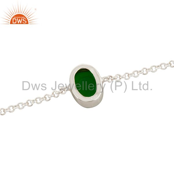 Suppliers Oval Shaped Light Green Druzy Agate Sterling Silver Bezel-Set Chain Bracelet