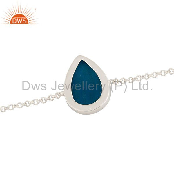 Suppliers Natural Blue Druzy Agate Pear Shape Sterling Silver Chain Bracelet