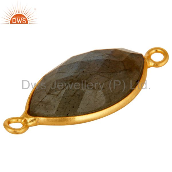 Suppliers 18K Yellow Gold Plated Sterling Silver Labradorite Gemstone Connector Jewelry