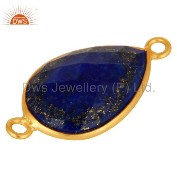 Suppliers Natural Lapis Lazuli Gemstone Yellow Gold Plated Sterling Silver Connector