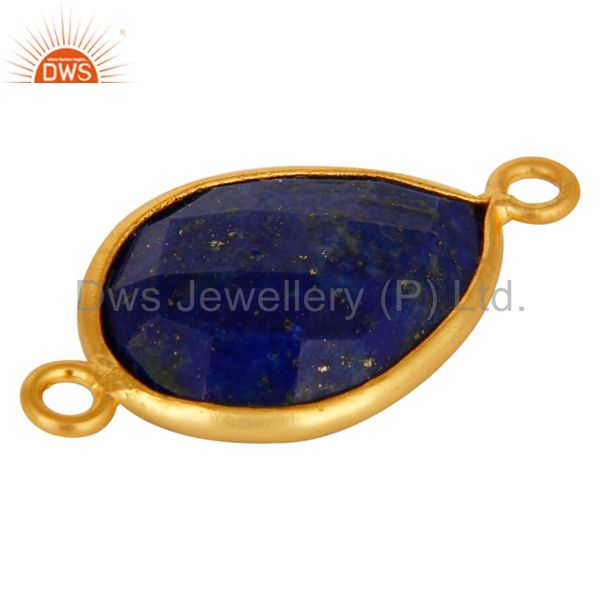 Suppliers Natural Lapis Lazuli Gemstone Sterling Silver Connector With Yellow Gold Plated