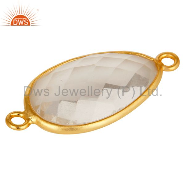 Suppliers 18K Gold Plated 925 Sterling Silver Crystal Quartz Gemstone Connector