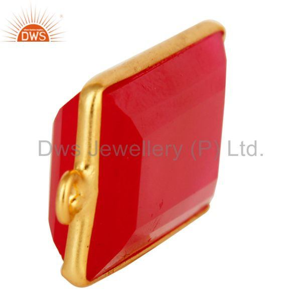 Suppliers 18K Gold Plated Sterling Silver Pink Chalcedony Gemstone Bezel Connector Jewelry