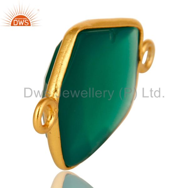 Suppliers 18K Yellow Gold Plated Sterling Silver Green Onyx Bezel Set Connector