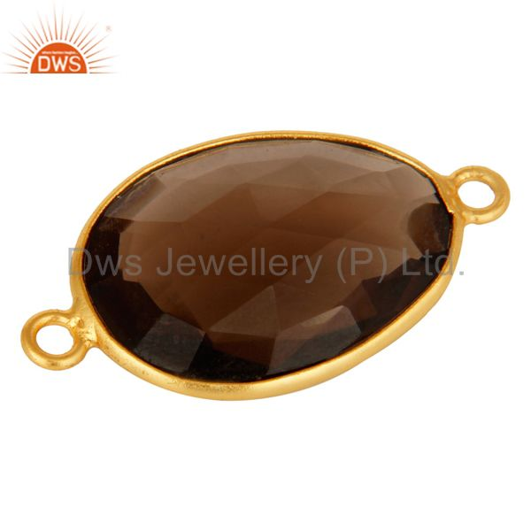 Suppliers 18K Gold Plated 925 Sterling Silver Smoky Quartz Gemstone Connector
