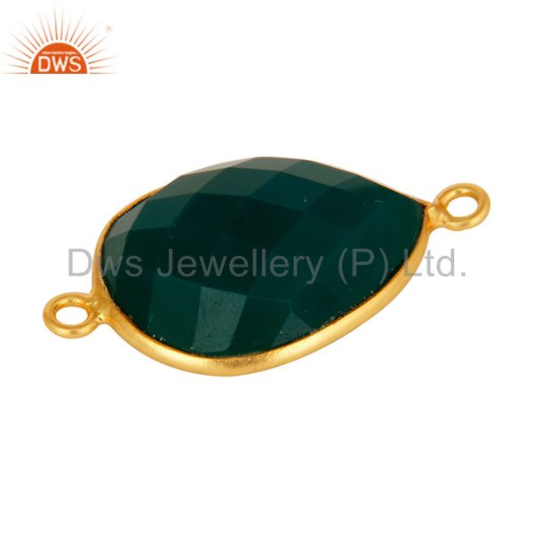 Suppliers 18K Gold Plated 925 Sterling Silver Green Onyx Gemstone Bezel Connector Jewelry