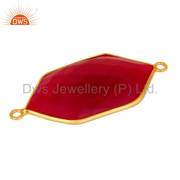 Suppliers Bezel-Setting Pink Chalcedony Gemstone Gold Plated Sterling Silver Connector