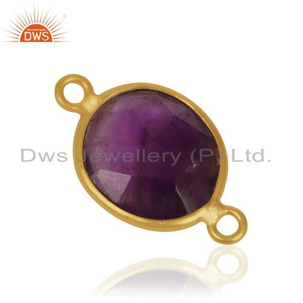 Suppliers Amethyst Gemstone Gold Plated 925 Silver Jewelry Connector Findings Manufacturer