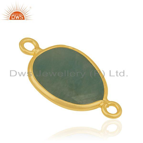 Suppliers Amazonite Gemstone Gold Plated 925 Silver Connectors Jewelry Findings