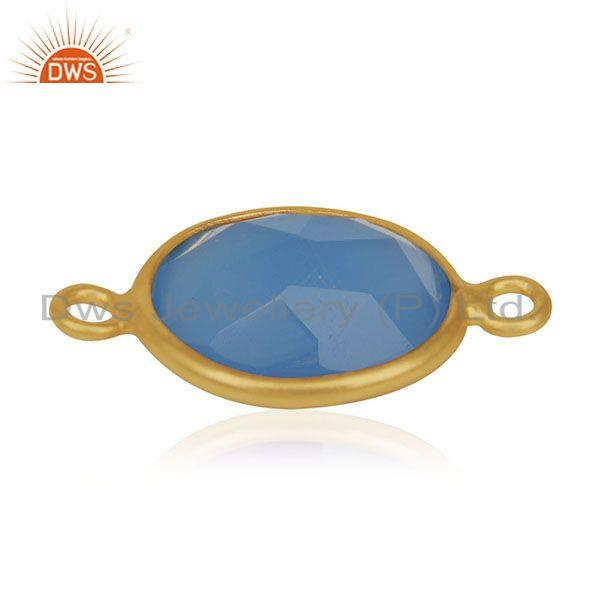 Suppliers Blue Chalcedony Gemstone 925 Sterling Silver Gold Plated Connectors Manufacturer