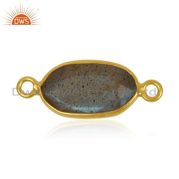 Suppliers Natural Labradorite Gemstone Sterling Silver Gold Plated Connectors Manufacturer