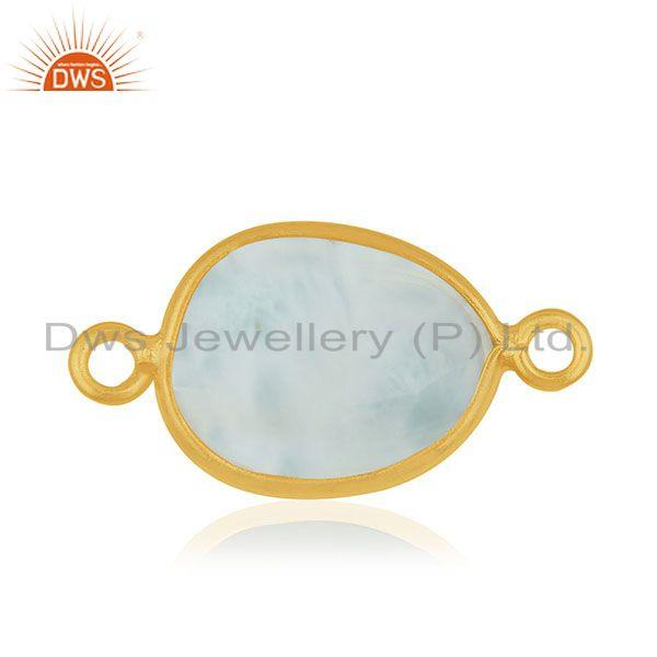 Suppliers Larimar Gemstone 925 Silver Gold Plated Jewelry Connectors Wholesale Suppliers