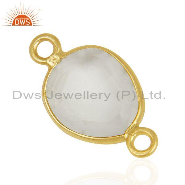 Suppliers Lemon Topaz Gemstone 925 Silver Gold Plated Jewelry Connectors Wholesale