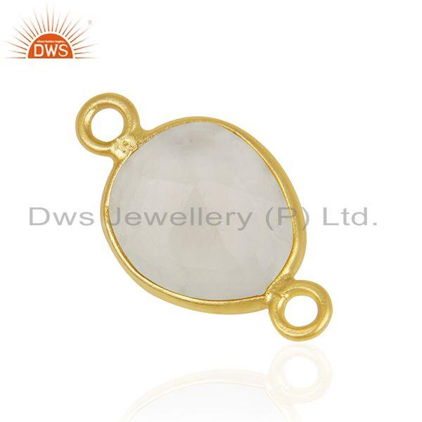 Suppliers Rainbow Moonstone 925 Silver Gold Plated Jewelry Connectors Wholesale India