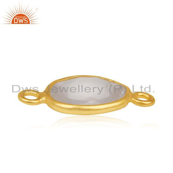 Suppliers Rose Quartz Gemstone Gold Plated 925 Silver Jewelry Connector Manufacturer India