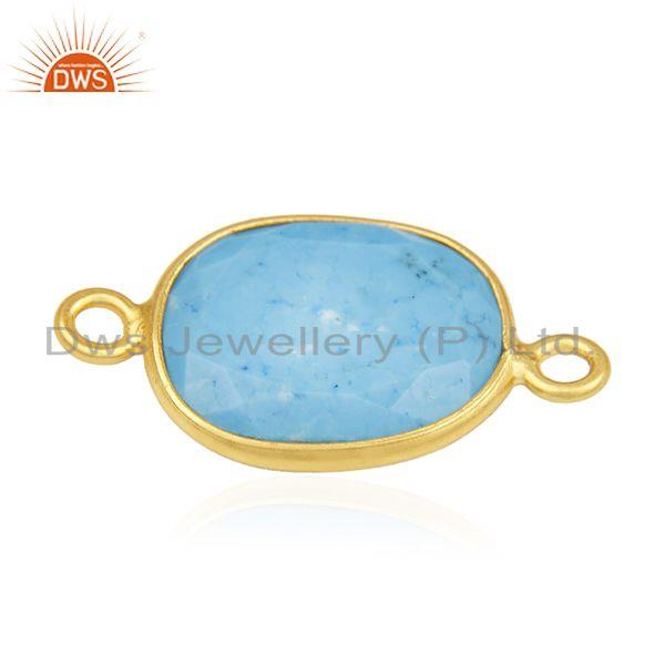 Suppliers Turquoise Gemstone 925 Silver Gold Plated Connectors Manufacturer from India