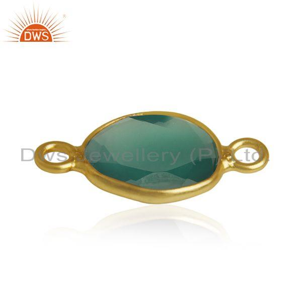 Suppliers Green Onyx Gemstone Silver Customized Connectors Manufacturer from India
