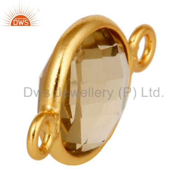 Suppliers 10mm Round Lemon Topaz Gemstone 18K Gold Plated Sterling Silver Connector