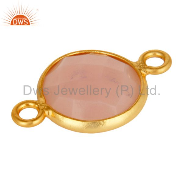 Suppliers 10mm Round Rose Chalcedony Gemstone 18K Gold Plated Sterling Silver Connector