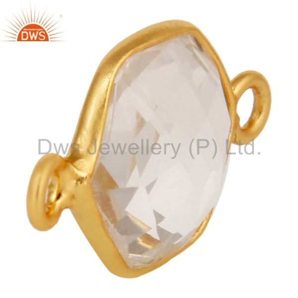 Suppliers Crystal Quartz Gemstone Gold Plated Sterling Silver Bezel Set Connector